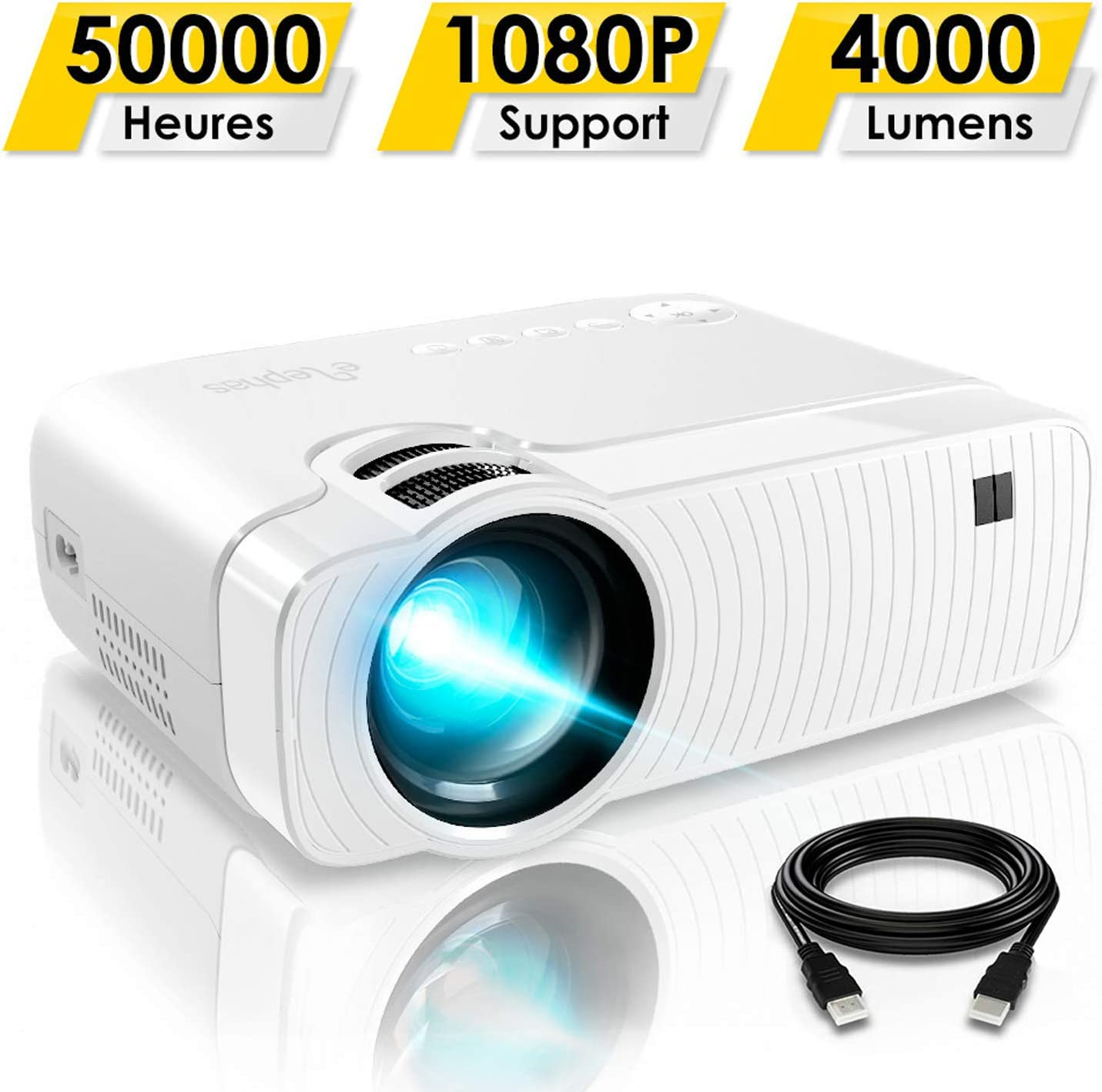Elephas - Mini proyector portátil de 3500 lúmenes, soporta 1080P ...