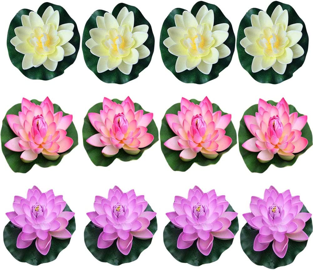 Artificial Floating Water Flower Pond for Home and Party Decoration Holiday Fountain Surface Fuchsia Lotus Ornament Medium