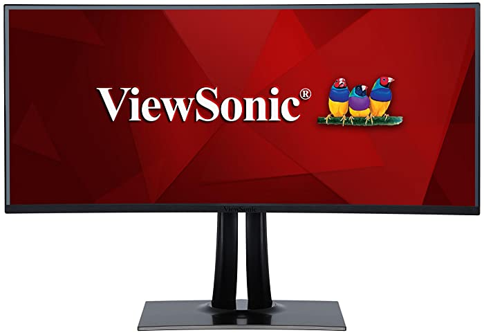 """ViewSonic VP3881 38"""" WQHD+ UltraWide Curved Monitor USB Type C 100% sRGB Rec709 HDR10 14-bit 3D LUT Color Calibration for Video and Graphics"""