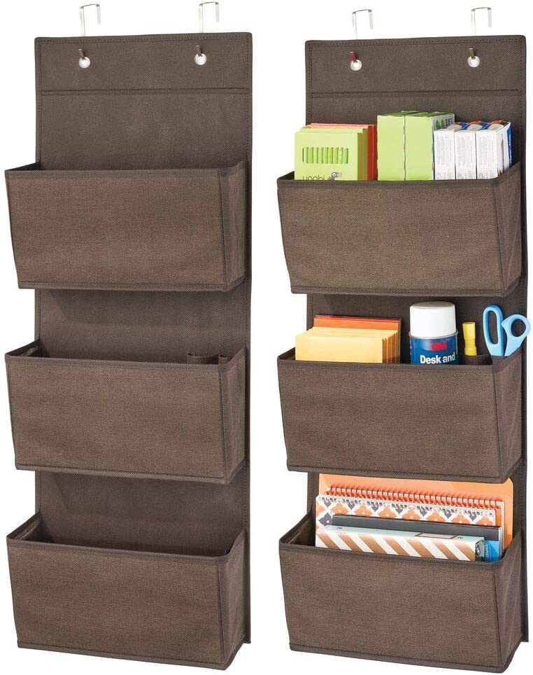 mDesign Soft Fabric Wall Mount/Over Door Hanging Storage Organizer - 3 Large Cascading Pockets - Holds Office Supplies, Planners, File Folders, Notebooks - Textured Print, 2 Pack - Espresso Brown