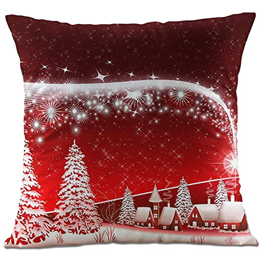 Hangood Fundas de Cojín Almohada Franela Decoración Sofá Coche Cama muñeco de Nieve de Navidad 45cm x 45cm