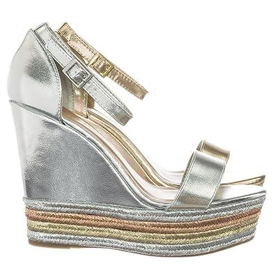 0435642214a Aquapillar Metallic Multi Colored Espadrille Jute Wrap Platform Wedge Dress  Sandal