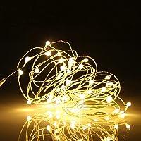 Ehome - Guirnalda de 100 luces LED de 10 m, resistente al agua, decorativa, de alambre de cobre, para interior y…