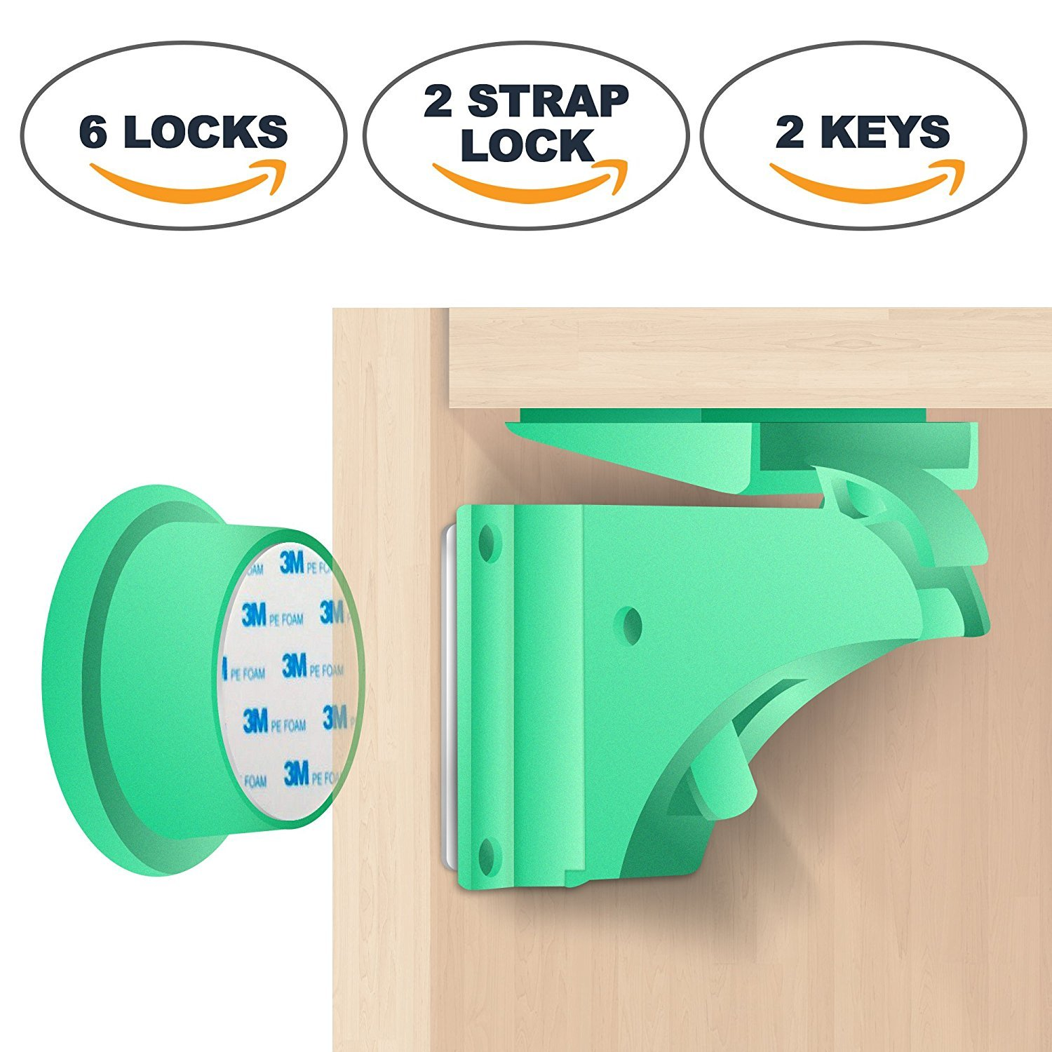 Magnetic Child Safety Locks Set Baby Proofing Latch Kit for Cabinets   Childproof Magnet Drawer Latches No Tools Needed Verrous de Security B/éb/é 6 Locks + 2 Keys