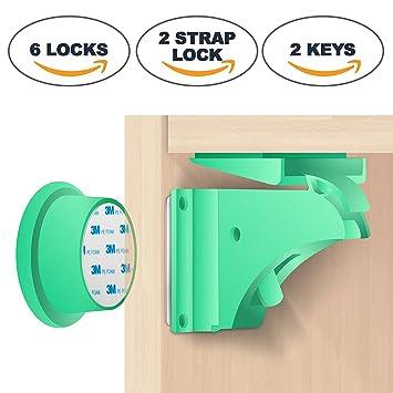 BabyPro - Juego de 2 cerraduras magnéticas de seguridad para niños (6 cerraduras + 2
