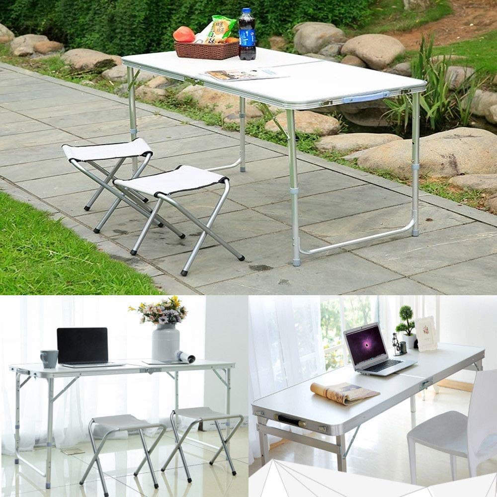 2.6ft-80x60x69cm Easy Carry and Storage Folding Table Picnic Garden Outdoor BBQ Party Portable Foldable Table Laptop Computer Table Desk with Handle Aluminum Frame,White