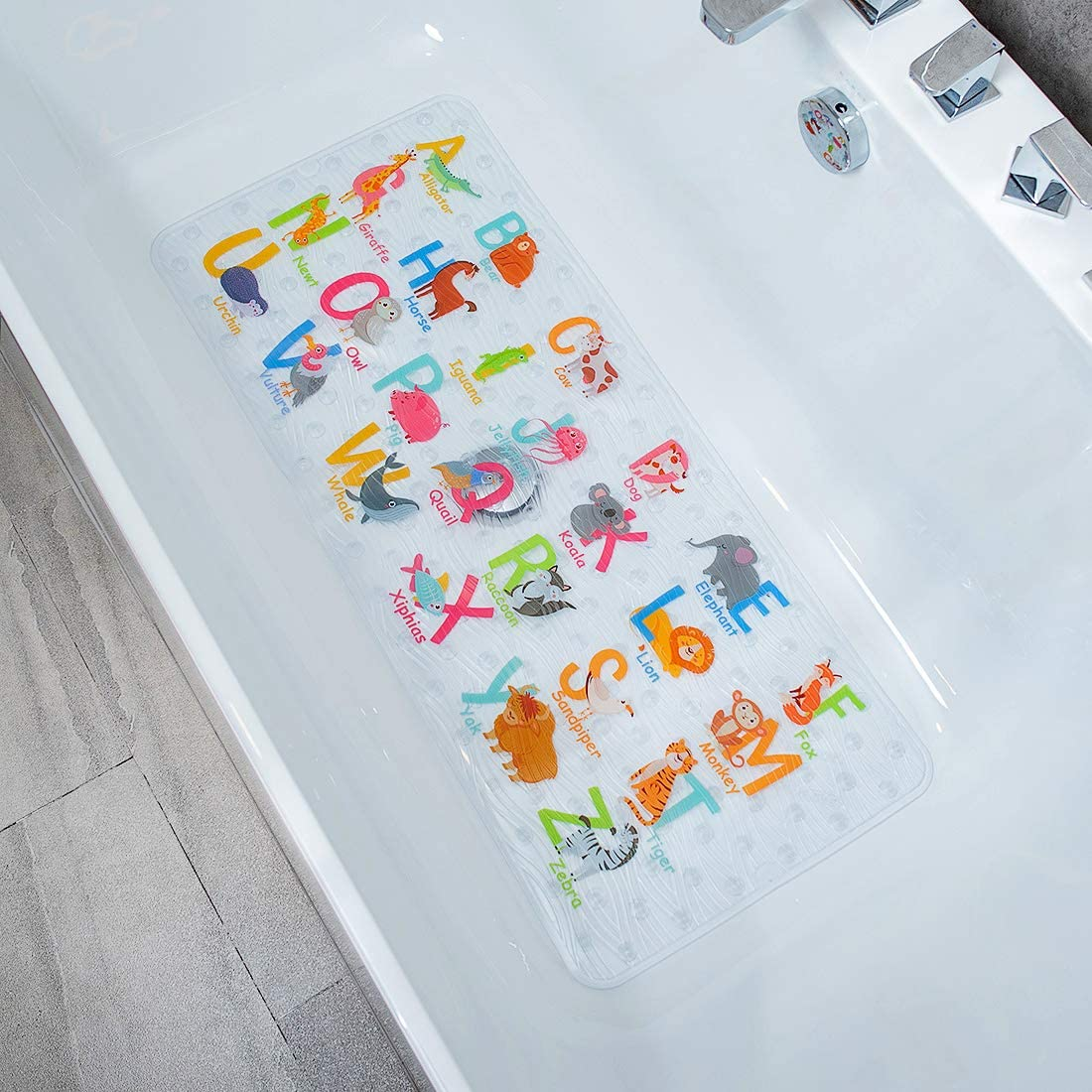 BEEHOMEE Bath Mats for Tub Kids - Large Cartoon Non-Slip Bathroom Bathtub Kid Mat for Baby Toddler Anti-Slip Shower Mats for Floor 35x16,Machine Washable XL Size Bathroom Mats (Alphabet)