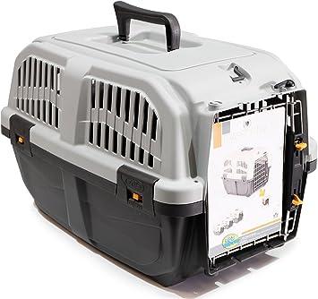 BPS (R) Transportín plástico para perros y gatos Mascota Caja de Transporte IATA 3 Tamaños para Elegir Color Gris/ Gris Oscuro 60* 40* 39cm Tamaño L BPS-4142: Amazon.es: Equipaje