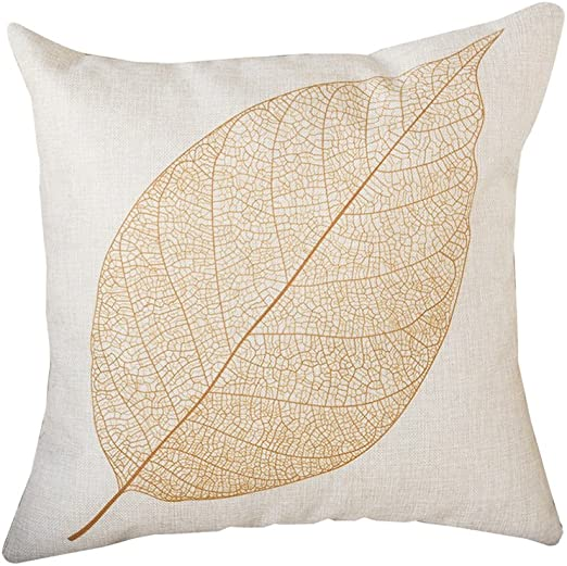 nikgic funda de cojín Algodón y lino funda de almohada grandes hojas pillow casos sofá cámara Carlos Décor 45 x 45 cm, mezcla de algodón, dorado, 45 x 45 cm: Amazon.es: Hogar