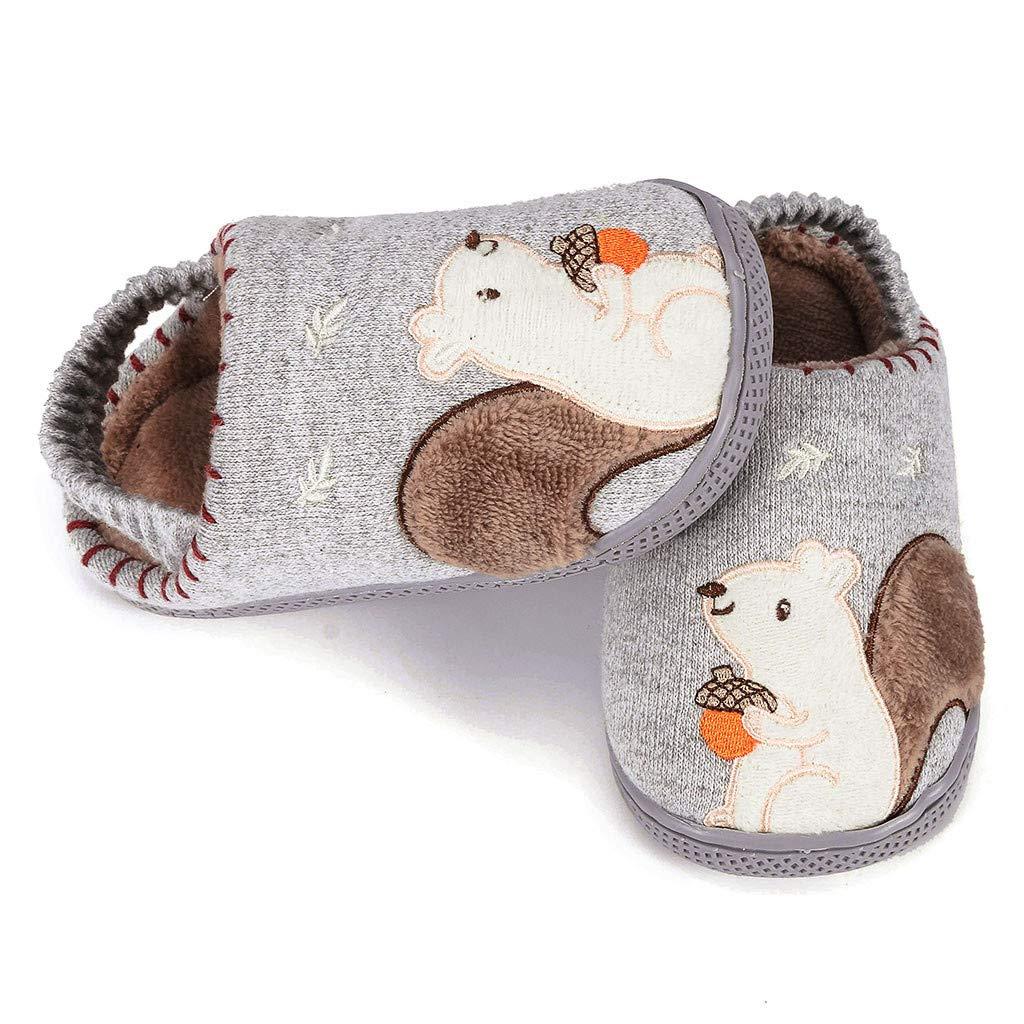Rmoon Pantofole Bambini Morbide Scarpe di Cotone con Antiscivolo e Calde Ciabatte Invernali Scarpe Pantofole Elastiche Mezze Pantofole per Bambini in Cotone Tinta Unita
