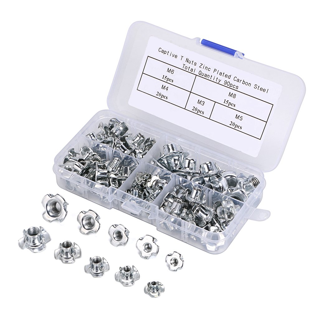 Tnut Metric Threaded Zinc Plated Captive Inserts 4Pronged Tee Nuts For Furniture