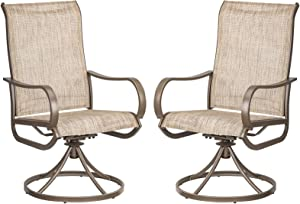 Patio Swivel Dining Chairs Set of 2 Outdoor Kitchen Garden Furniture Metal Chair with Textilene Mesh Fabric