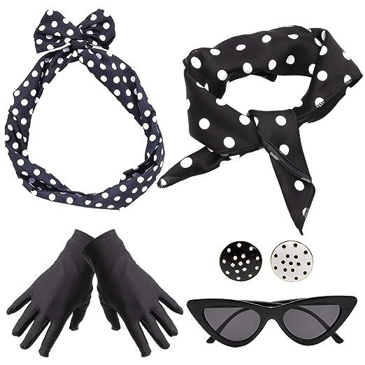 0d131595e2c7 50 s Costume Accessories Set for Women Polka Dot Accessories Retro Style  Chiffon Scarf Cat Eye Glasses