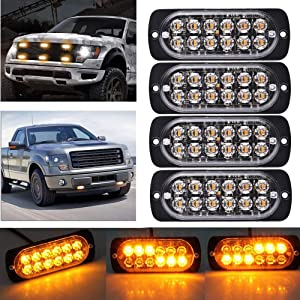 Ricoy Super Bright Amber 12-LED 12-24V Car Truck Warning Caution Emergency Construction Waterproof Beacon Flash Caution Strobe Bumper Grill Tail Work Light Bar 4-pack (Amber)