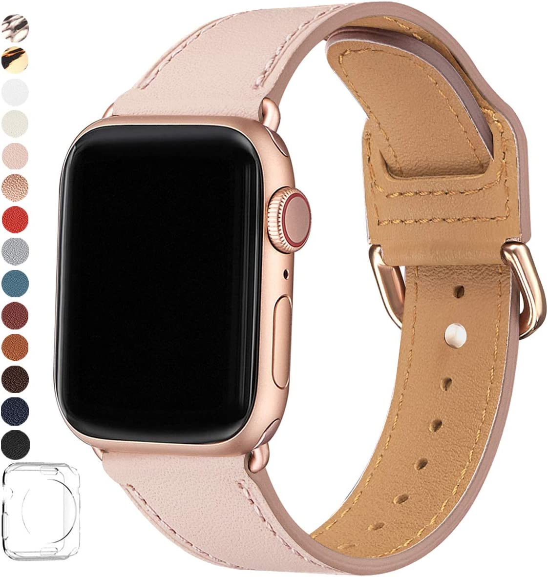POWER PRIMACY Bands Compatible with Apple Watch Band 38mm 40mm 42mm 44mm, Top Grain Leather Smart Watch Strap Compatible for Men Women iWatch Series 6 5 4 3 2 1,SE(Pink Sand /Rosegold, 42mm 44mm)