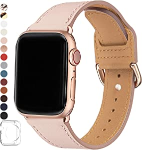 POWER PRIMACY Bands Compatible with Apple Watch Band 38mm 40mm 42mm 44mm, Top Grain Leather Smart Watch Strap Compatible for Men Women iWatch Series 6 5 4 3 2 1,SE (Pink Sand /Rosegold, 38mm 40mm)