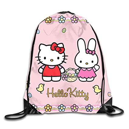5a6b4d30f Image Unavailable. Image not available for. Color: Meirdre Unisex Hello  Kitty Cartoon Sports Drawstring Backpack Gym Bag