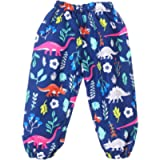 LZH Baby Girls Waterproof Rain Pants Lined Flower Print Rainwear