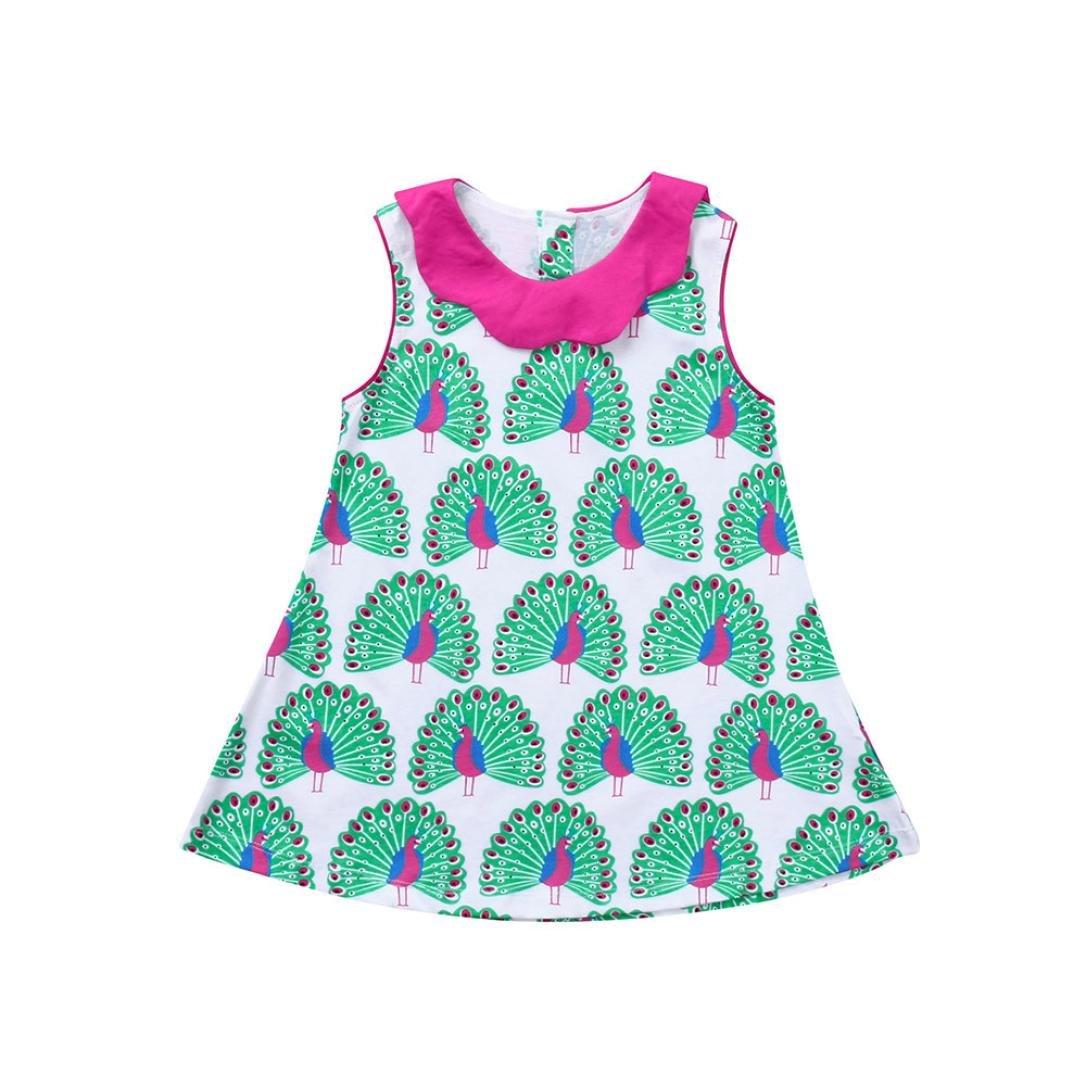 Veepola Kids Baby Girls Peacock Print Sleeveless Princess Dress Sundress,2-7Years