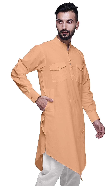 Atasi Kurta de cr/éateur /à Manches Longues en Coton Indien pour Hommes Kurta Long
