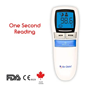 Dr. Odin Multi Function Non-Contact Forehead Infrared Thermometer With Led Backlit - White