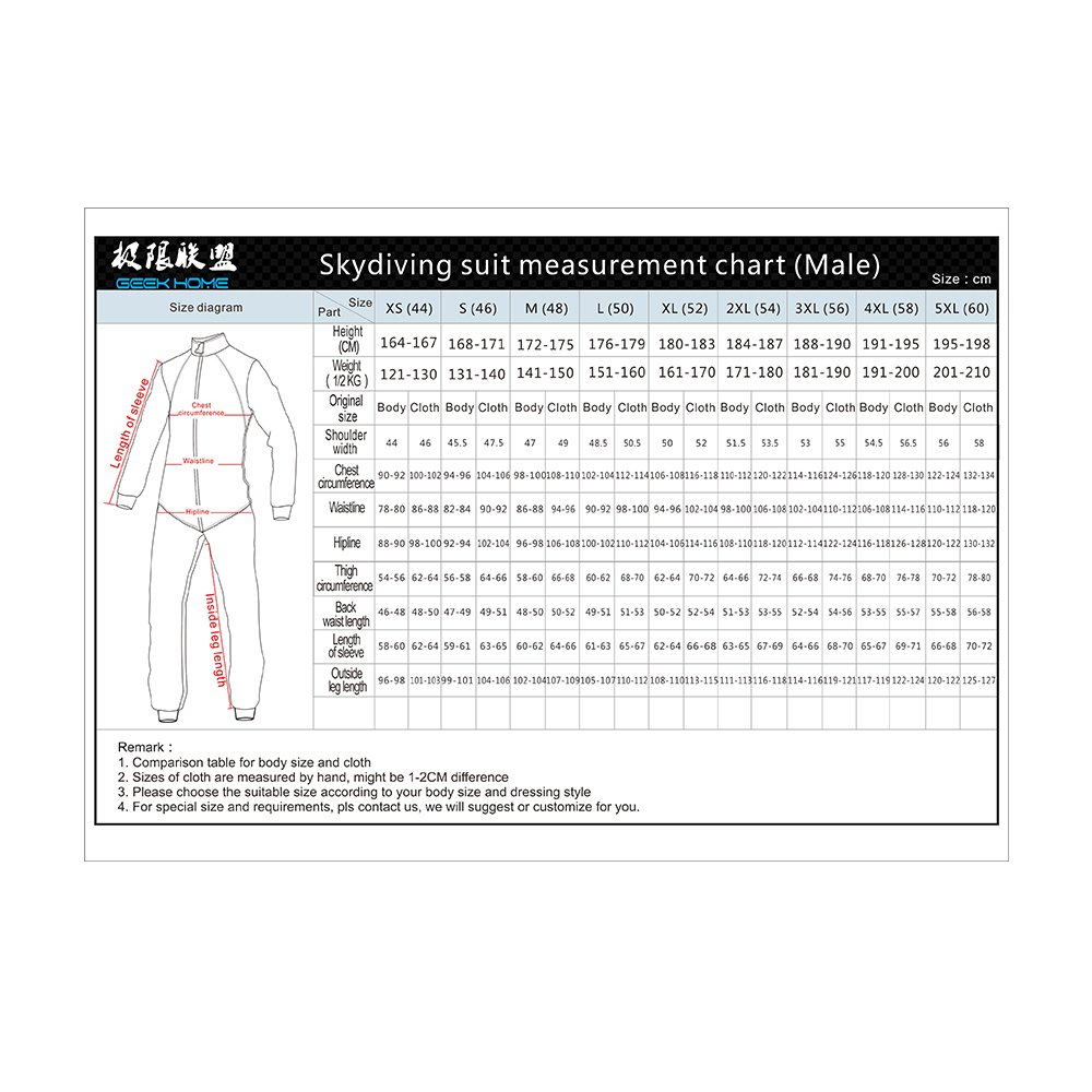 1e88a9d695e6 Geek Home Skydiving Free Fly Suit Jumpsuit Skydive Black Red White Size  3XL  Amazon.co.uk  Sports   Outdoors