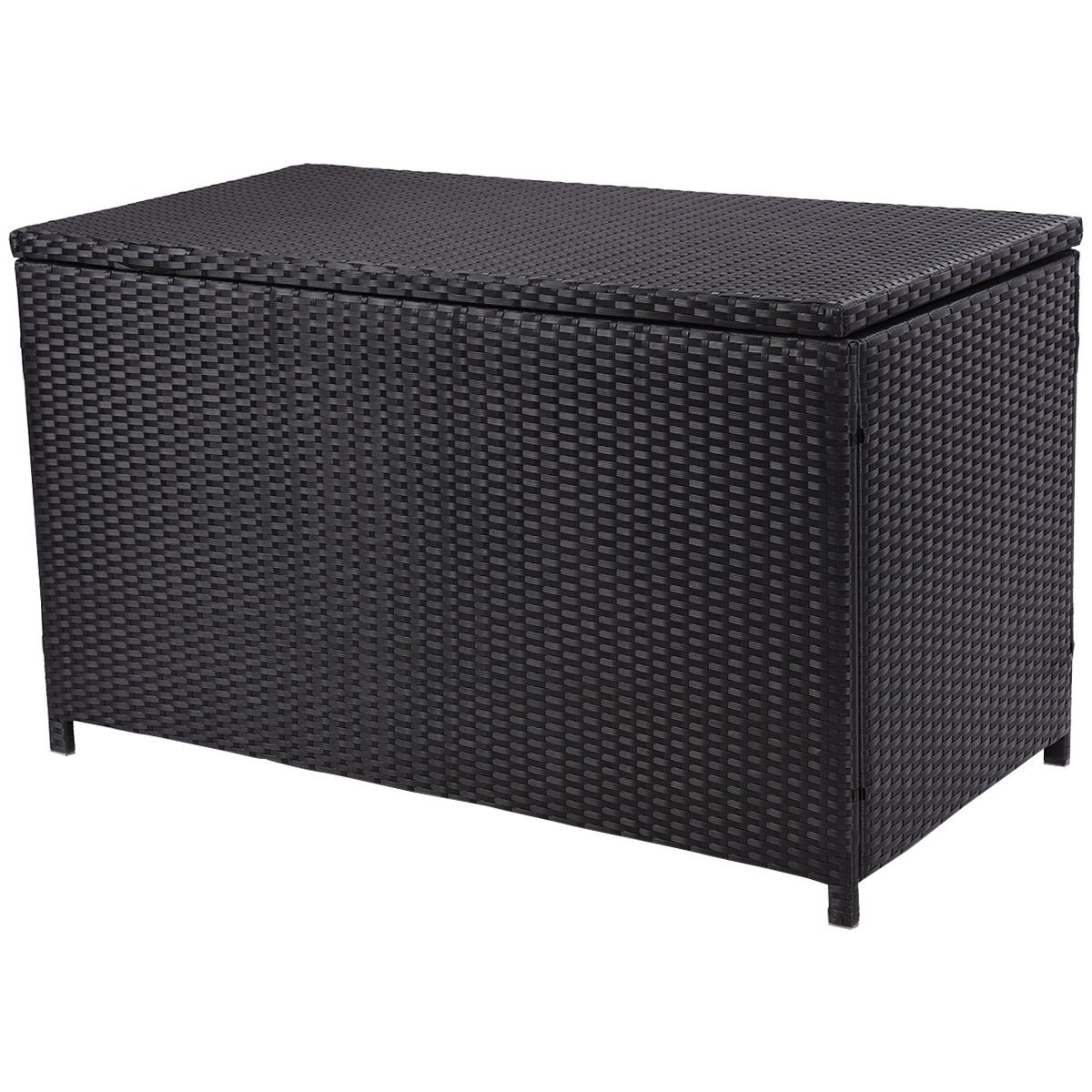 Giantex 47 black outdoor wicker deck cushion storage box furniture patio garden amazon ca patio lawn garden