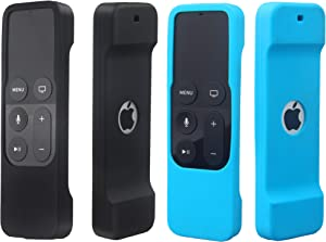 2 Pack Remote Case Compatible with Apple TV 4K/5th and 4th Generation - Auswaur Shock Proof Silicone Remote Cover Case Compatible with Apple TV 4 and 4K/5th Gen Siri Remote Controller - Black Blue