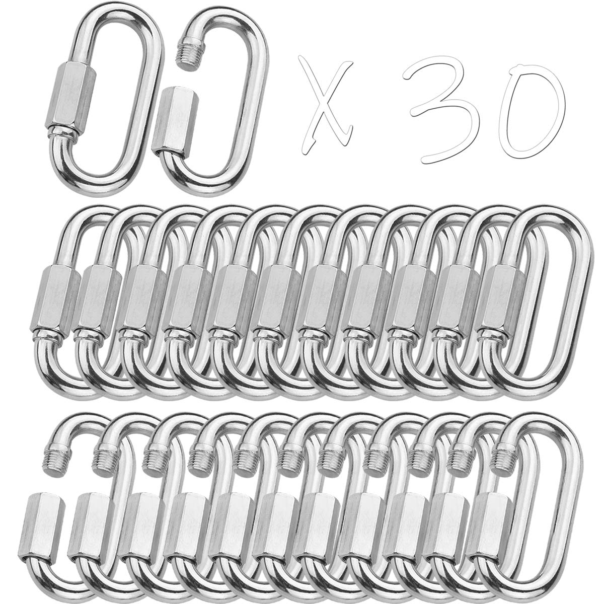 MFOREVER 304 Stainless Steel Quick Links Locking Carabiner for Outdoor Traveling Equipment M8-15PACK