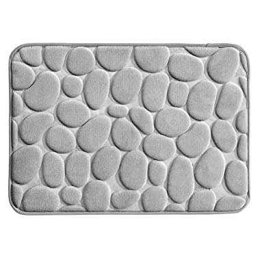 InterDesign Bathroom, 24  x 17 , Memory Foam Pebble Mat-Small-Gray
