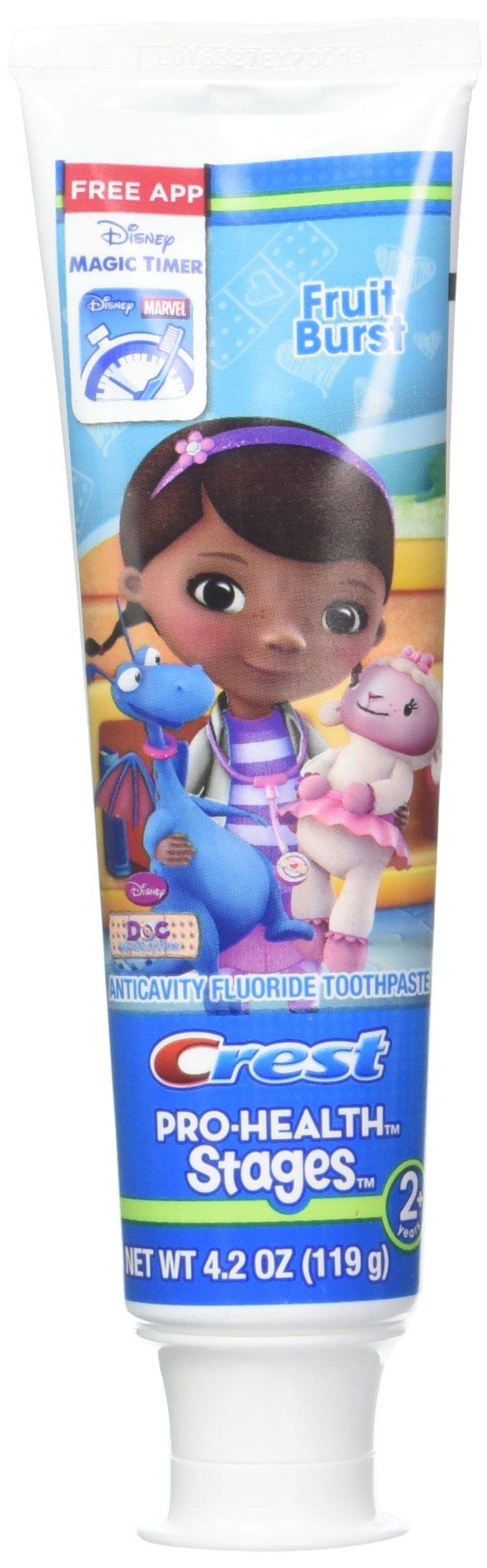 Crest Pro-Health Disney Jr. Doc Mcstuffins Stages 2+ Fruit Burst 4.2oz (Pack of 2) Plus one Free Oral-B Complete Toothbrush