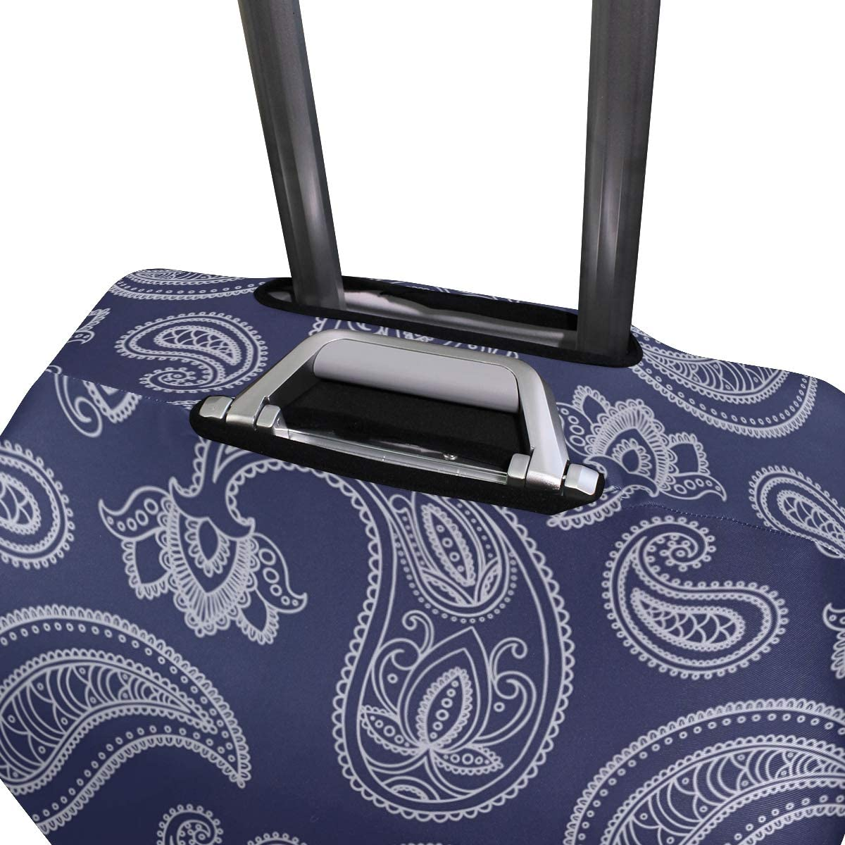 Baggage Covers Blue White Paisley Pattern Washable Protective Case