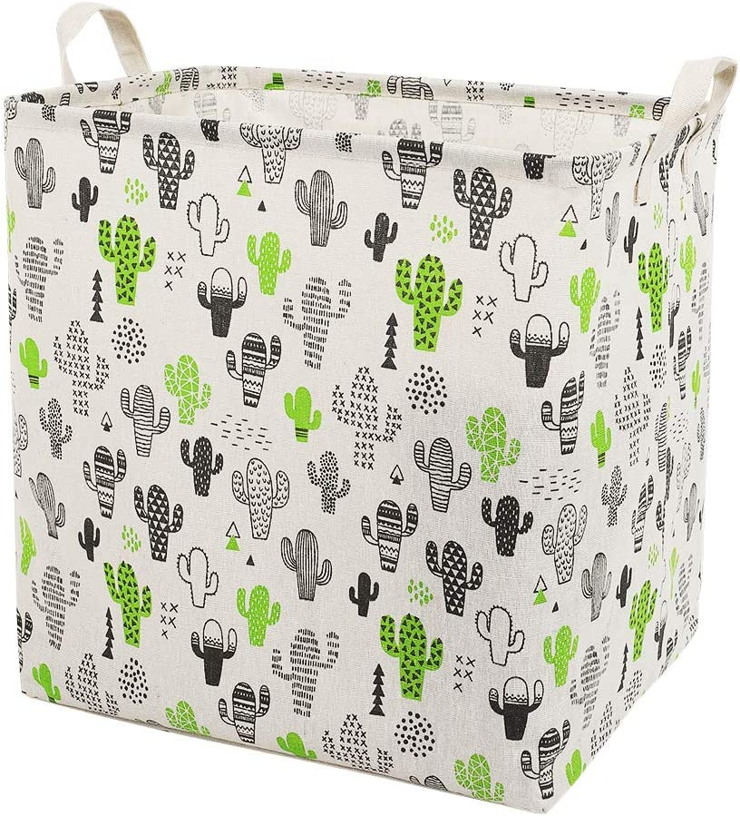Collapsible Laundry Hamper Clothes Laundry Basket Canvas Nursey Laundry Hamper Foldable Bedroom Storage Basket Bins for Home (F-Cactus)