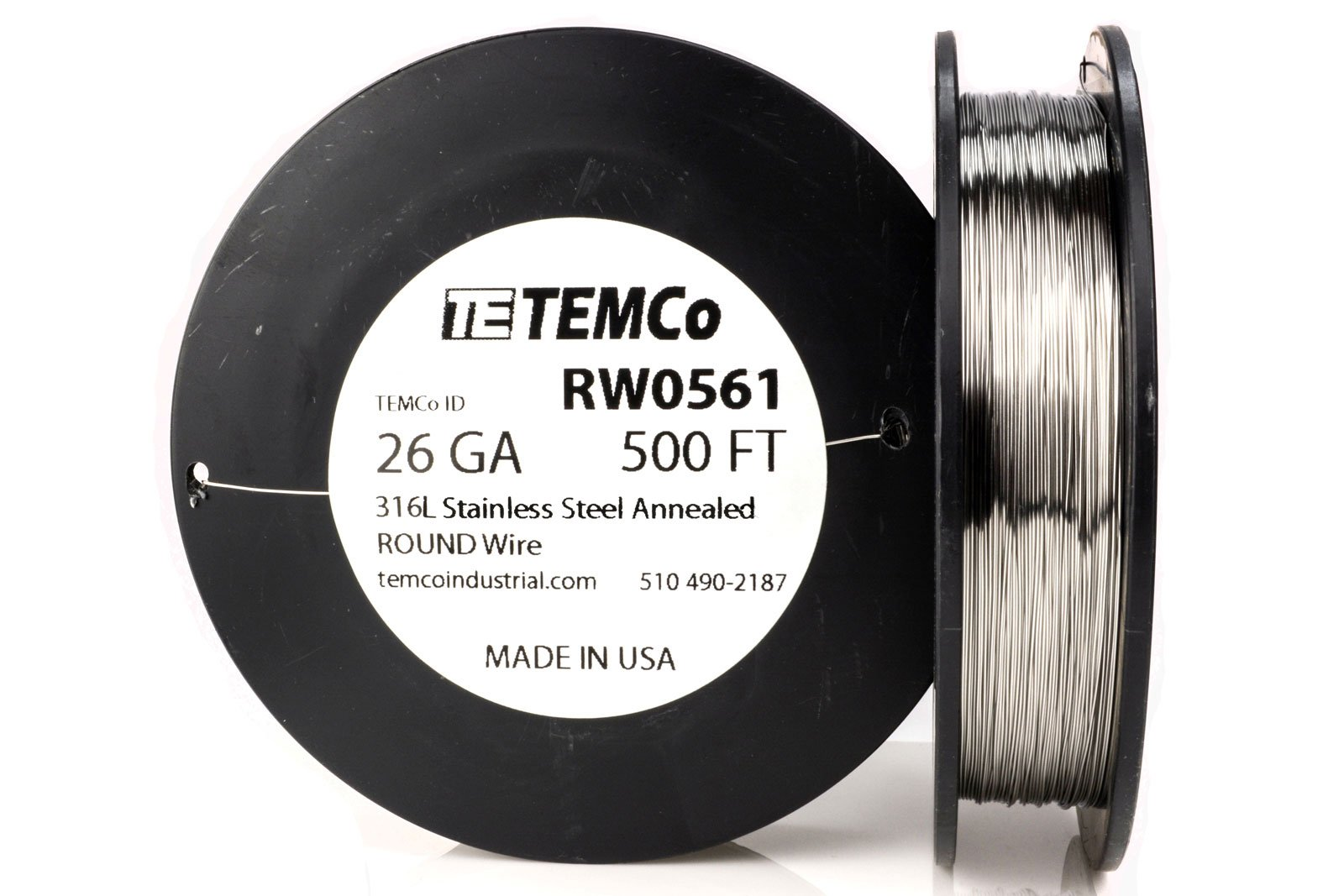 TEMCo Stainless Steel Wire SS 316L - 26 Gauge 500 FT Non-Resistance AWG ga