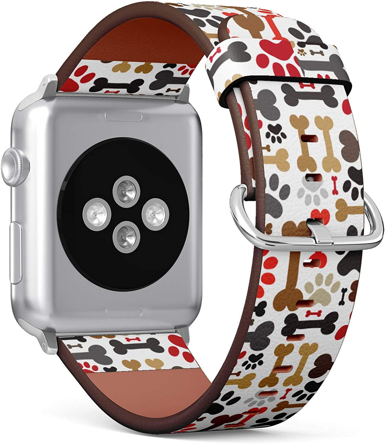 (Cute Pattern of Dogs Paws and Bones) Patterned Leather Wristband Strap Compatible with Apple Watch Series 4/3/2/1 gen,Replacement of iWatch 42mm / 44mm Bands