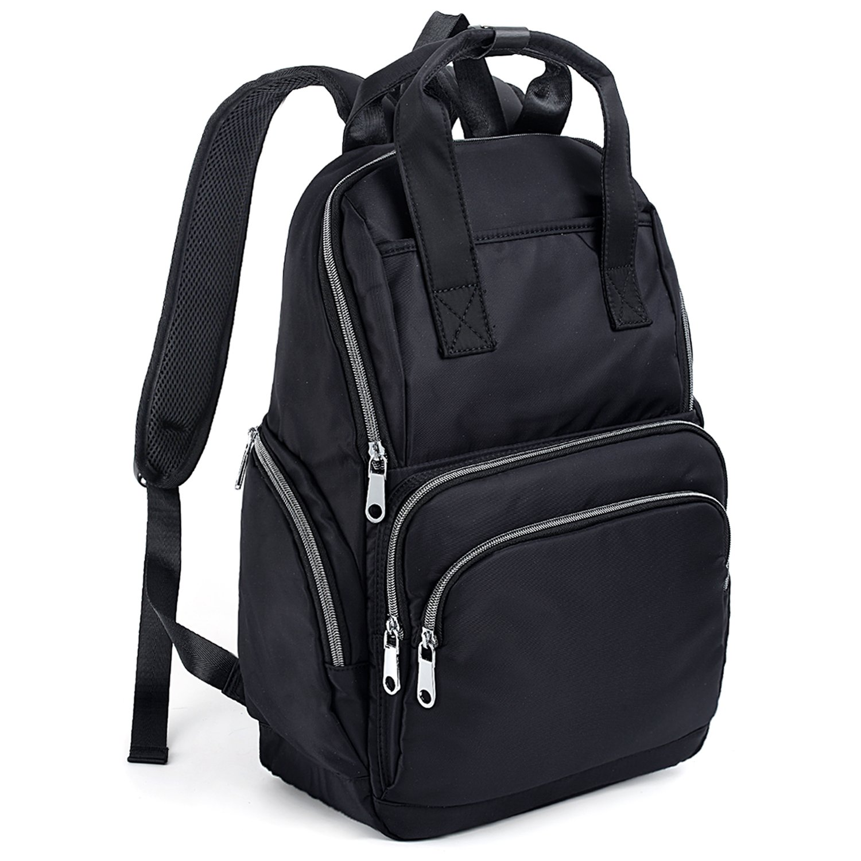 UTO Fashion Backpack Top Handles Waterproof Nylon Cloth Rucksack School College Bookbag Shoulder Purse Black