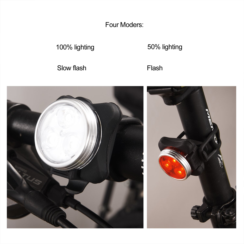 Phare /& Feu Arrière Set résistant à l/'eau Super Lumineux Avant et Arrière Bike Light