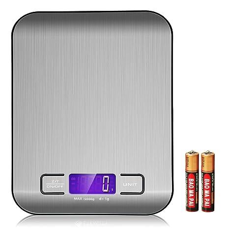 Y-ouni Báscula Digital para Cocina de Acero Inoxidable, 5kg / 11 lbs, Balanza de Alimentos Multifuncional, Color Plata (Baterías Incluidas): Amazon.es: ...