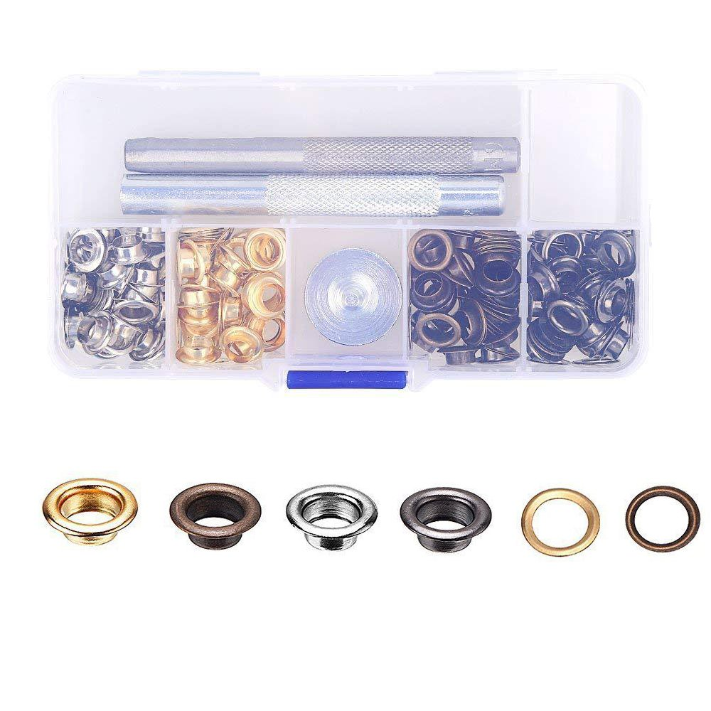 Eyech 120pc Set Eyelets Grommet Kit Grommets /& Eyelet for Canvas Clothes Leather Self Backing 1//4 Inch
