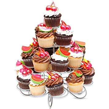 Edelstahl 23 Tassen Cupcake Stander 4 Etagen Kuchen Display