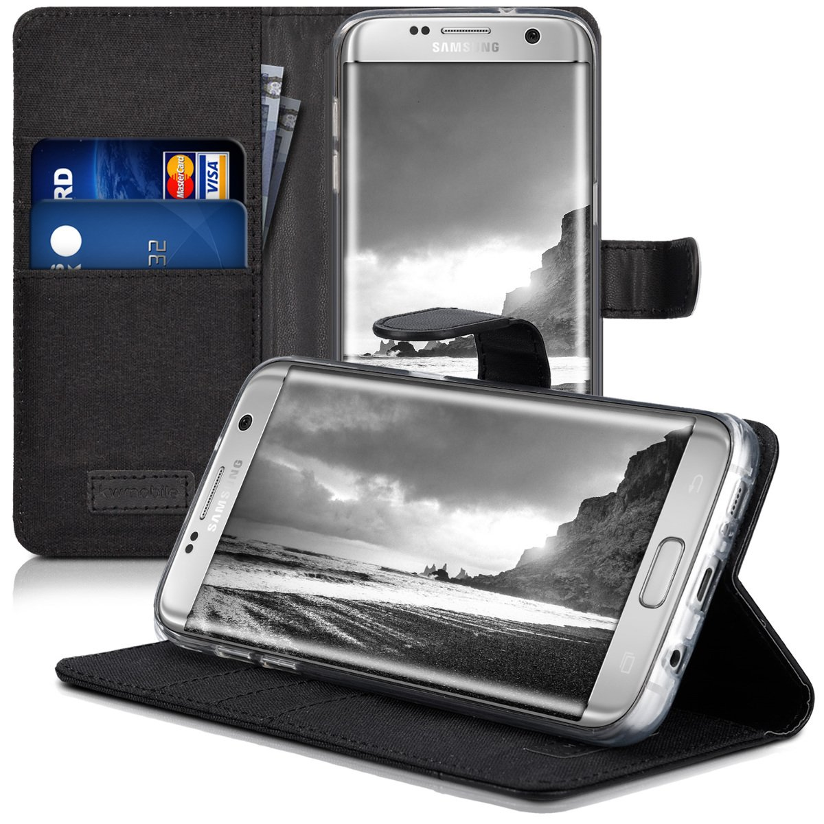 Grey//Black Fabric and PU Leather Flip Cover with Card Slots and Stand kwmobile Wallet Case for Samsung Galaxy S7 Edge