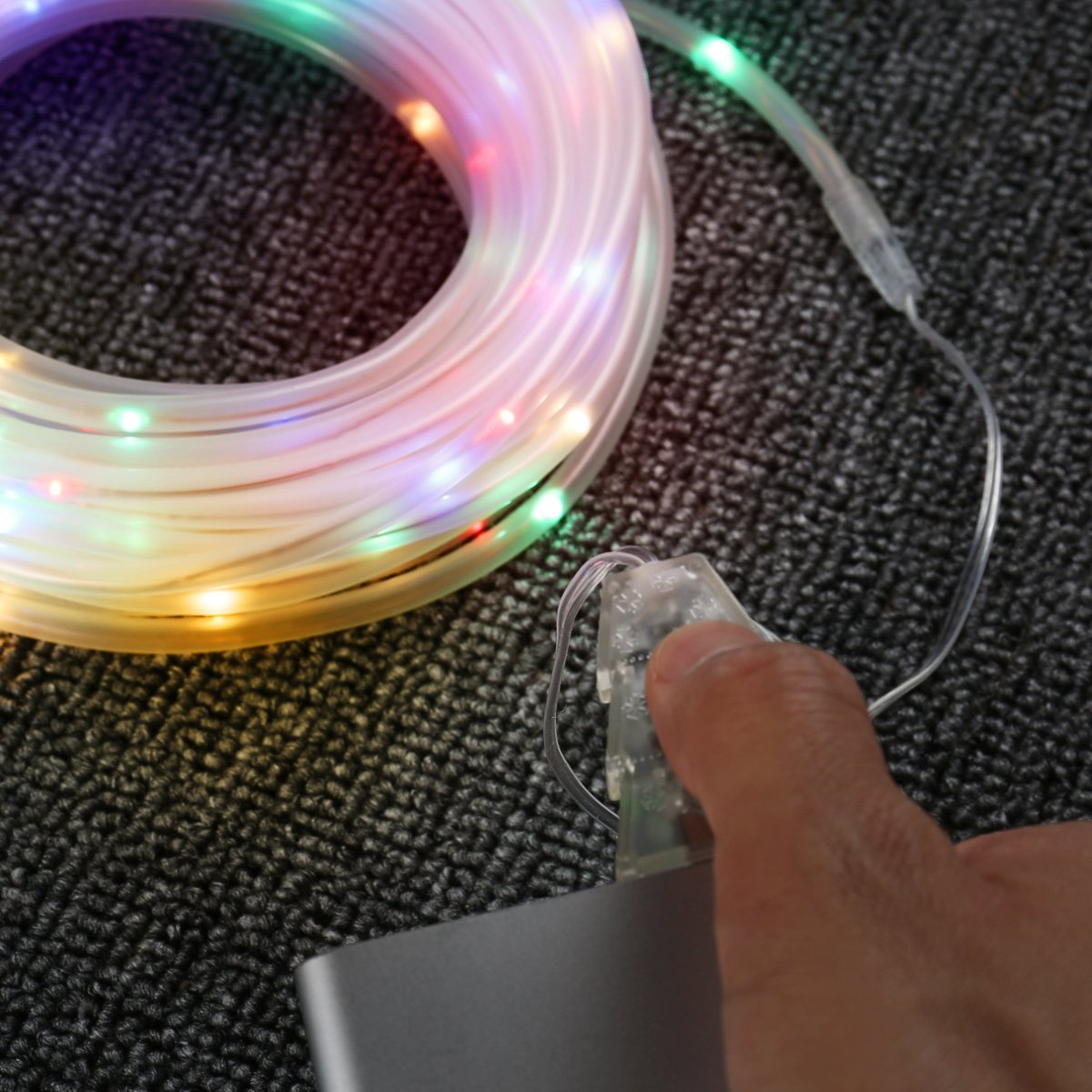LE 33ft 100 LED Dimmable Rope Lights, USB Powered Waterproof Outdoor Rope Lighting, 8 Lighting Modes/Timer, Multi Color Patio Lights Ideal for Patio Gardens Parties Wedding Holiday Decor, RGB Light