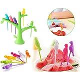 DeoDap's Plastic Bird and Tree Shape Fork Free and Holder Rack, Medium(Multicolour)