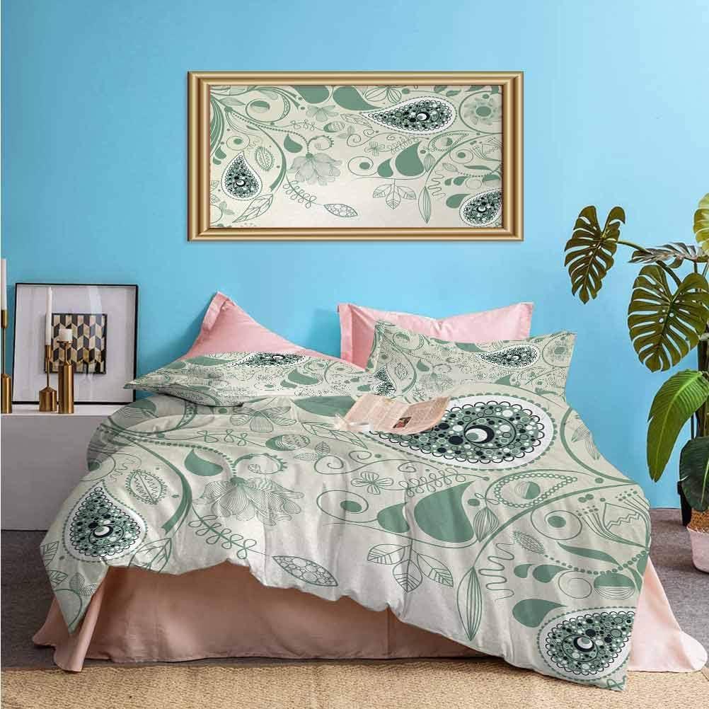 Paisley 3-Piece Duvet Cover Set Vintage Floral Paisley Patterns on Retro Art Background Persian Style Home Decor Aesthetic Bedding Set Laurel Green | 1 Duvet Cover + 2 Pillow Shams Queen Size
