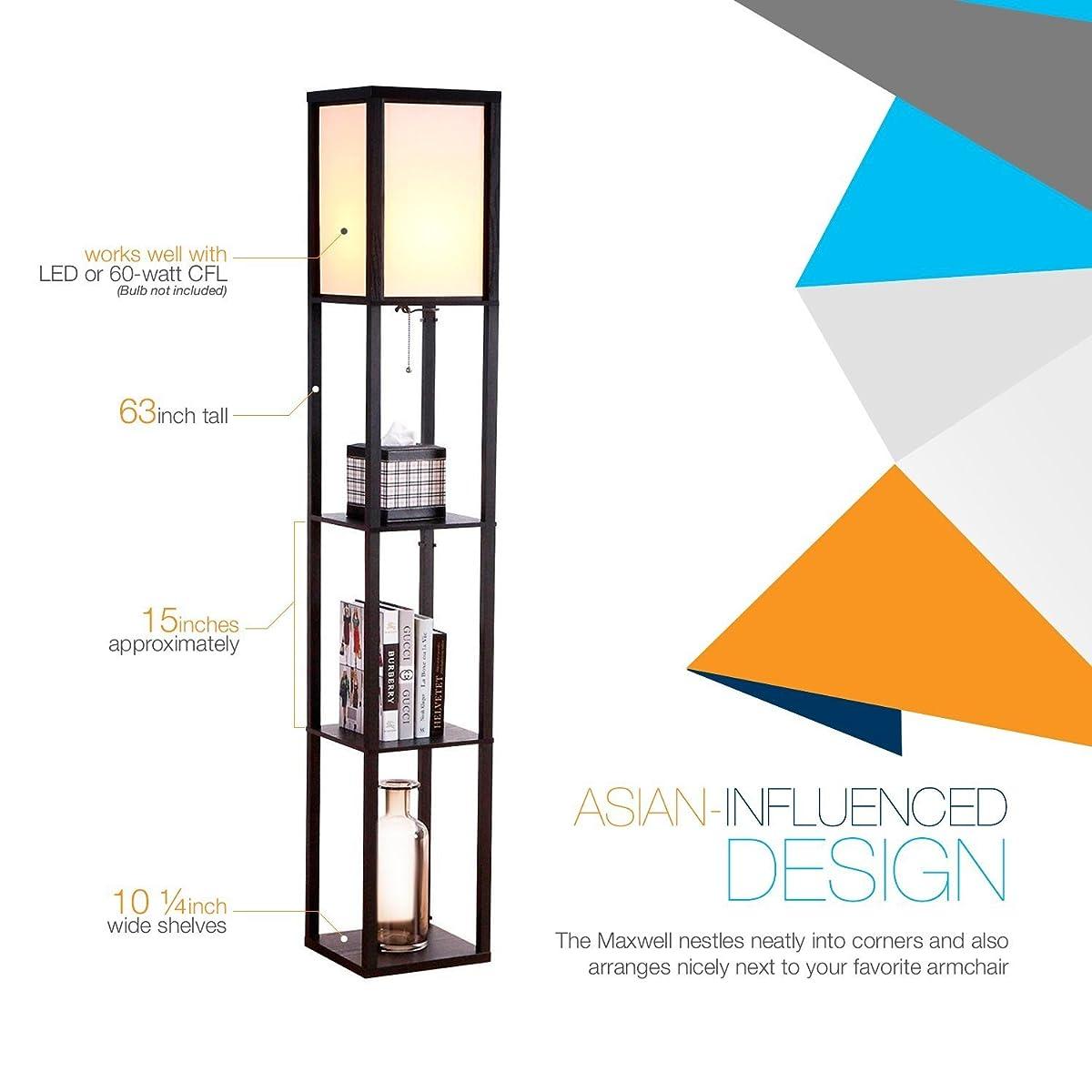 Brightech Maxwell - LED Shelf Floor Lamp - Modern Standing Light for Living Rooms & Bedrooms - Asian Wooden Frame with Open Box Display Shelves - Black