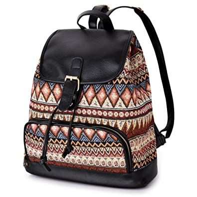 96309beb66cc Vbiger Ethnic Canvas Backpacks Ladies Travel Daypack Shoulder Bag with  Printing Pattern  Amazon.co.uk  Clothing