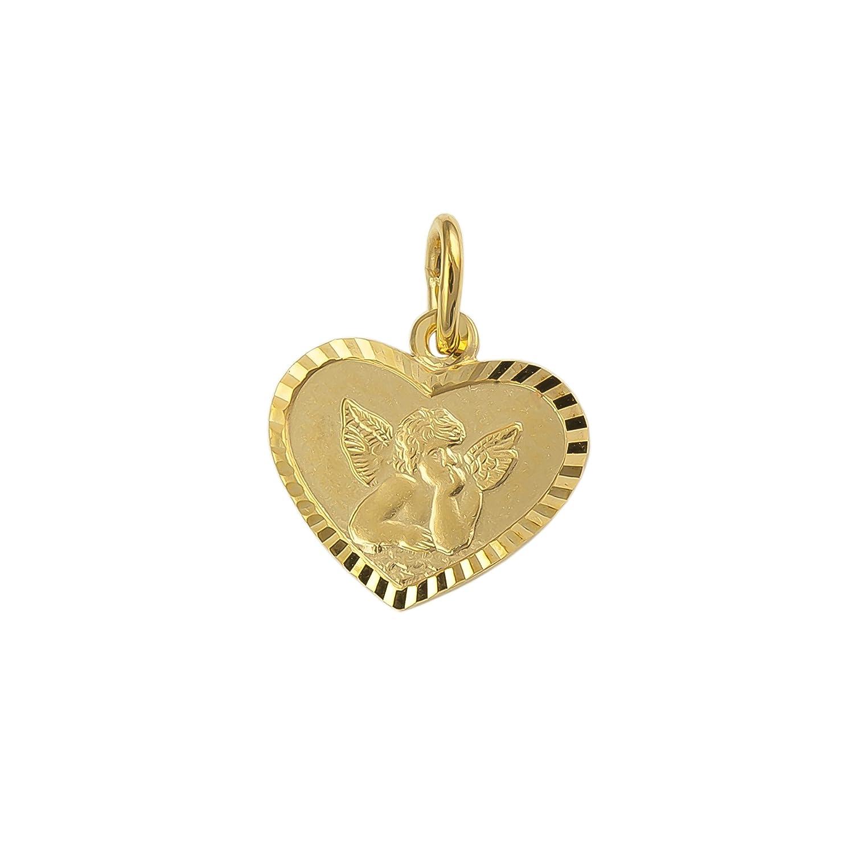 IDENTIM Schutzengel Engel Herz Anhänger 333 8 Karat Gold Gelbgold Engelanhänger 30768