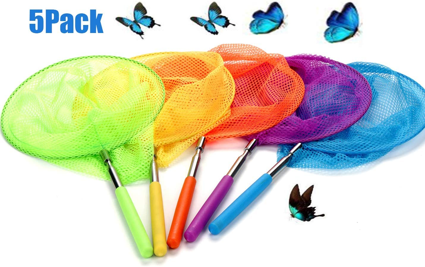 5 Pack JOCHA Telescopic Butterfly Fishing Nets Great for Kids Catching Insects Bugs Fish Caterpillar Ladybird Nets Outdoor Tools Colorful Extendable 34 Inch