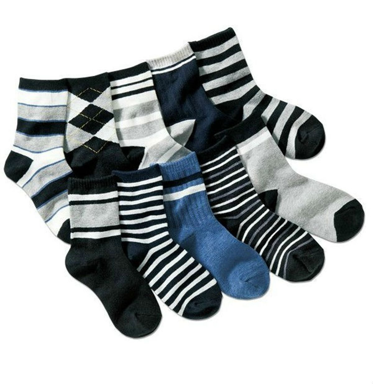 Boys Short Socks Fashion Comfort Cotton Basic Crew Kids Socks 10 Pair Pack