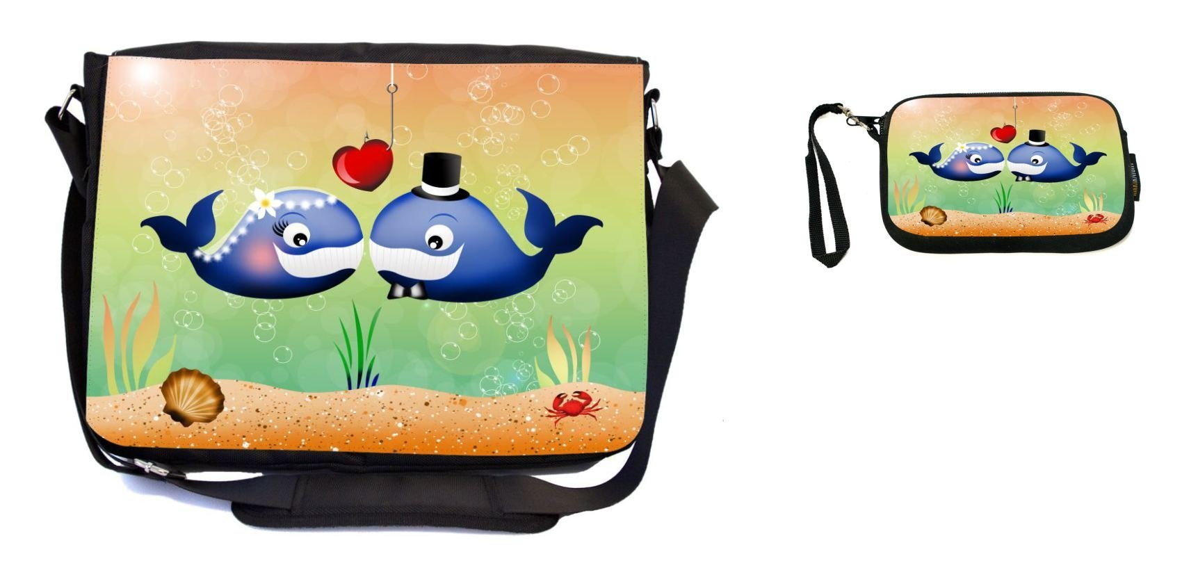 Rikki Knight Dolphins in Love Wedding Illustration Design Messenger Bag - School Bag - Laptop Bag - with Padded Insert - Includes UKBK Premium Coin Purse
